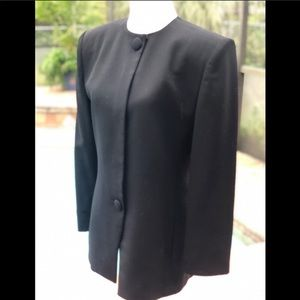 Christian Dior black collarless blazer suit jacket
